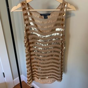 French Connection gold sequin tank, like new